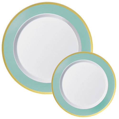 Premium Robin's Egg Blue Border & Gold Tableware Kit for 20 Guests Image #2