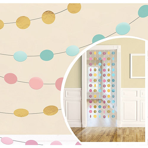 Pastel & Gold String Decorations 6ct Image #1