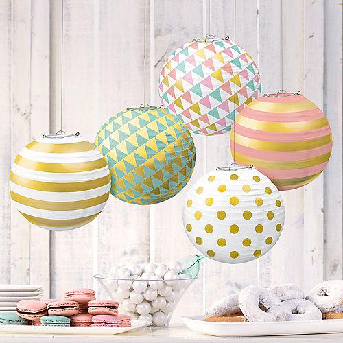 Mini Pastel & Gold Paper Lanterns 5ct Image #2