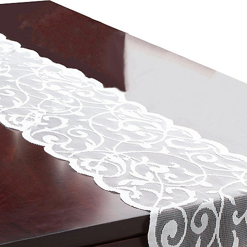 White Floral Lace Table Runner Image #1