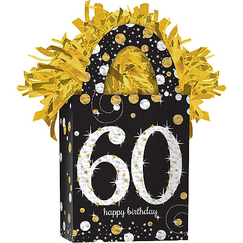 Prismatic 60th Birthday Balloon Weight - Sparkling Celebration Image #1