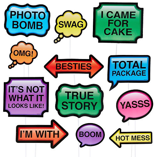 Trendy Phrases Photo Booth Props 13ct Image #1