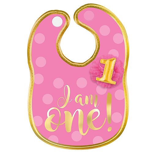 Pink & Gold 1st Birthday Bib Image #1