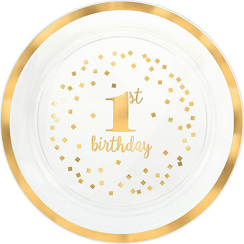 Metallic Gold Confetti 1st Birthday Serving Tray Image #1