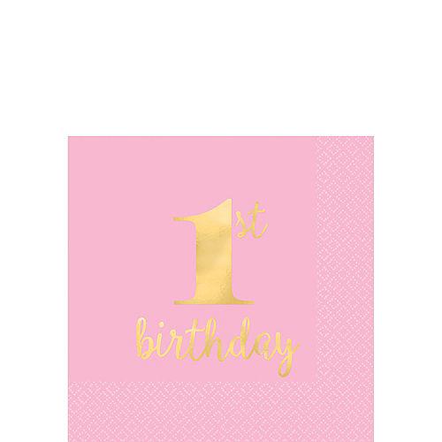 Metallic Pink & Gold 1st Birthday Premium Beverage Napkins 16ct Image #1