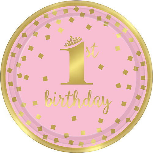 Metallic Pink & Gold Confetti 1st Birthday Lunch Plates 8ct Image #1