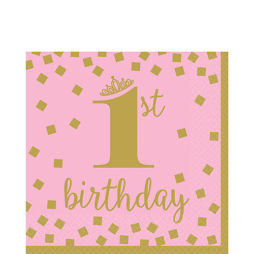 Pink & Gold 1st Birthday Lunch Napkins 16ct Image #1