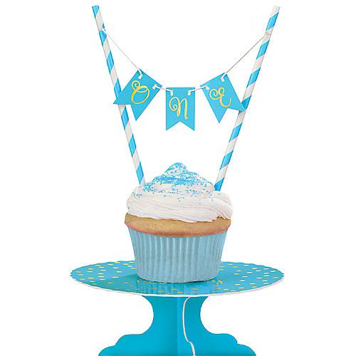 Mini Blue 1st Birthday Cake Stand Kit 2pc Image #1