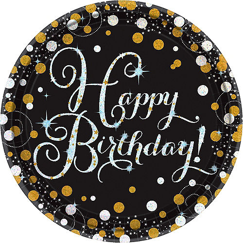 Prismatic Birthday Lunch Plates 8ct - Sparkling Celebration Image #1