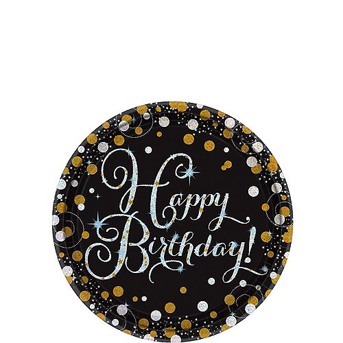 Prismatic Birthday Dessert Plates 8ct - Sparkling Celebration Image #1