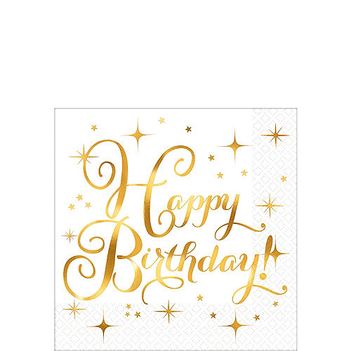 Metallic Gold Birthday Beverage Napkins 16ct Image #1
