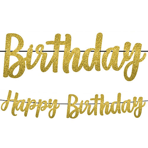 Glitter Gold Happy Birthday Banner Image #1