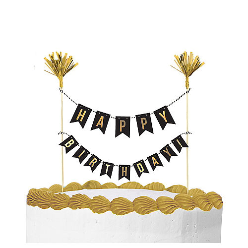 Gold Happy Birthday Banner Cake Topper Image #1