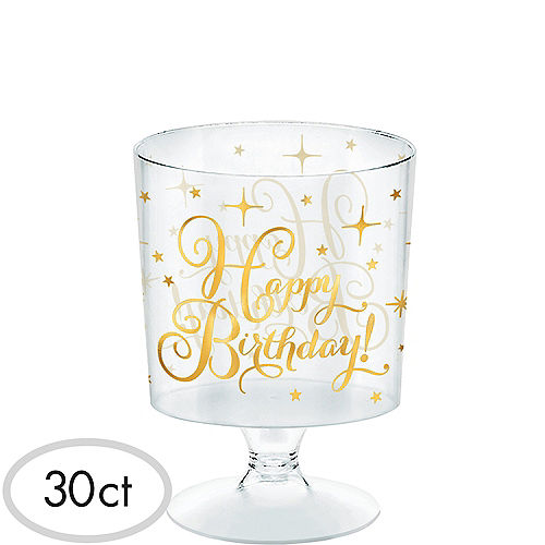 Mini Metallic Gold Birthday Plastic Pedestal Cups 30ct Image #1