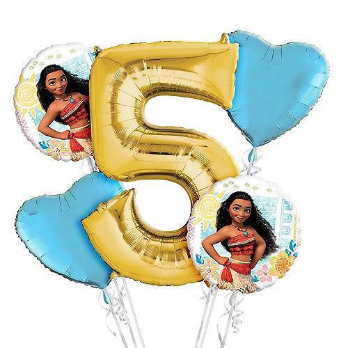 Moana 5th Birthday Balloon Bouquet 5pc Image #1