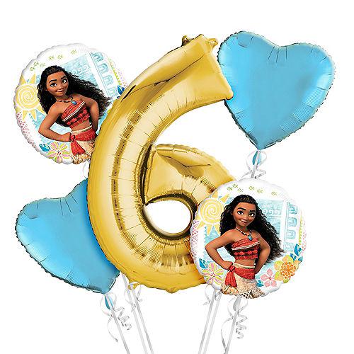 Moana 6th Birthday Balloon Bouquet 5pc Image #1