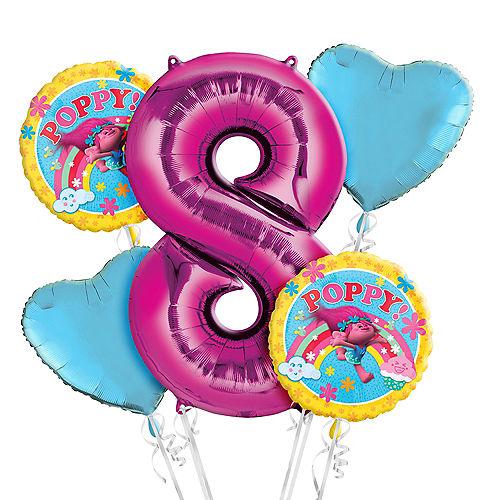 Trolls 8th Birthday Balloon Bouquet 5pc Image #1