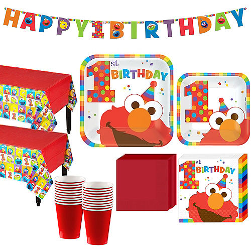 1st Birthday Elmo Party Kit for 16 Guests Image #1