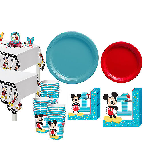 1st Birthday Mickey Mouse Party Kit for 32 Guests Image #1