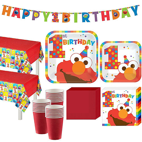 1st Birthday Elmo Party Kit for 32 Guests Image #1