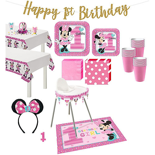 1st Birthday Minnie Mouse Deluxe Party Kit for 32 Guests Image #1