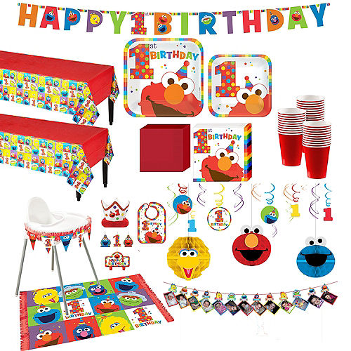 1st Birthday Elmo Deluxe Party Kit for 32 Guests Image #1