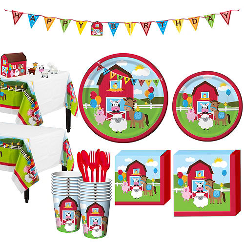Farmhouse Fun 1st Birthday Party Kit for 16 Guests Image #1