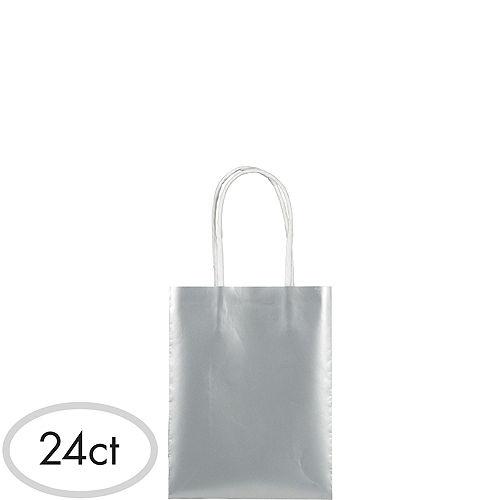 Small Metallic Silver Kraft Bags 24ct Image #1