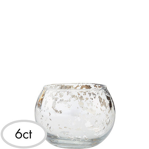 Silver Round Mercury Glass Votive Candle Holders 6ct Image #1