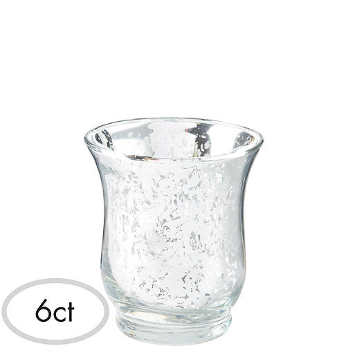 Silver Hurricane Mercury Glass Votive Candle Holders 6ct Image #1