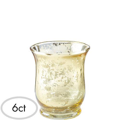 Gold Hurricane Mercury Glass Votive Candle Holders 6ct Image #1