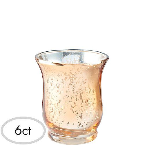 Rose Gold Hurricane Mercury Glass Votive Candle Holders 6ct Image #1