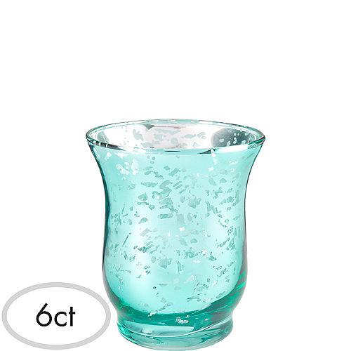 Teal Hurricane Mercury Glass Votive Candle Holders 6ct Image #1