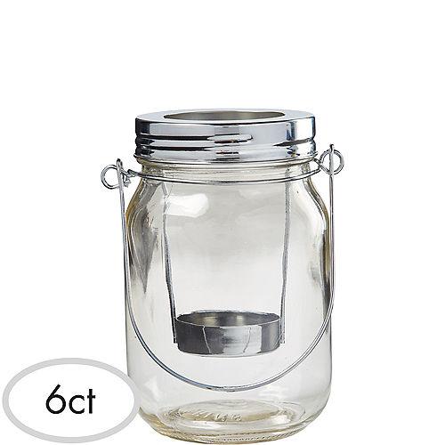 Mason Jar Lantern Tealight Candle Holders 6ct Image #1