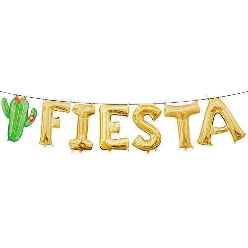 Air-Filled Gold Fiesta Letter Balloons 7pc Image #1