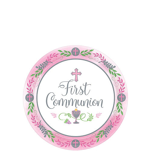 Girl's First Communion Dessert Plates 18ct Image #1