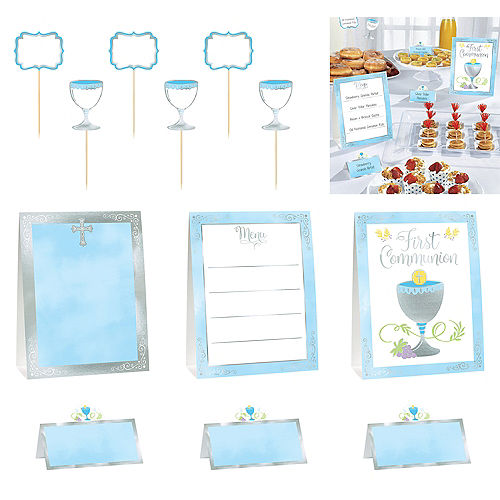 Metallic Boy's First Communion Buffet Decorating Kit 12pc Image #1
