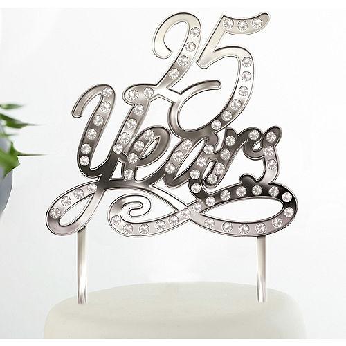 Silver 25th Anniversary Cake Topper Image #1