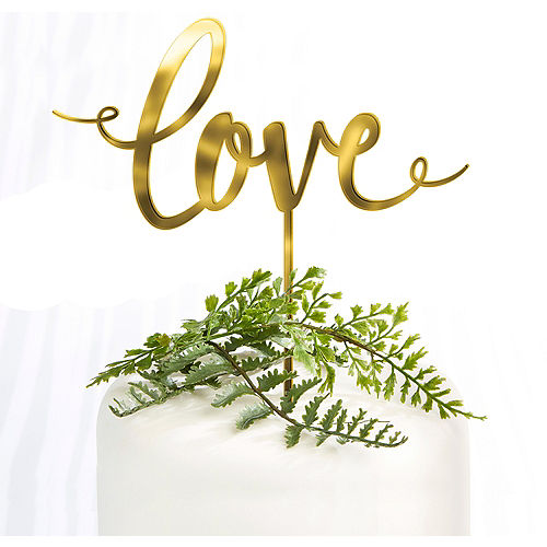 Gold Love Wedding Cake Topper 6 1/4in x 6 1/2in Image #1