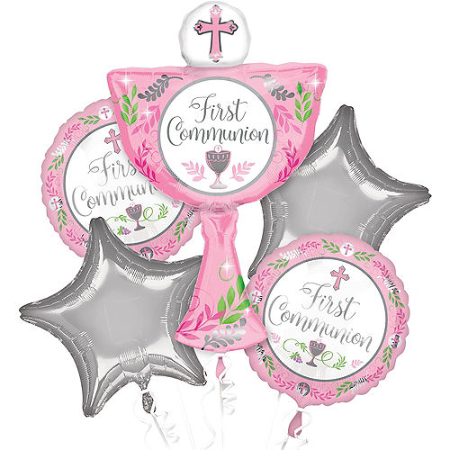 Girl's First Communion Balloon Bouquet 5pc Image #1