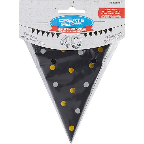 Mini Create Your Own Gold & Silver Polka Dots Pennant Banner Image #1