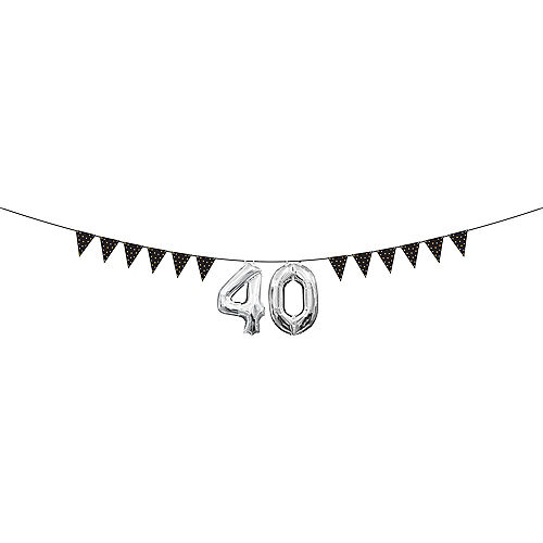 Mini Create Your Own Gold & Silver Polka Dots Pennant Banner Image #2