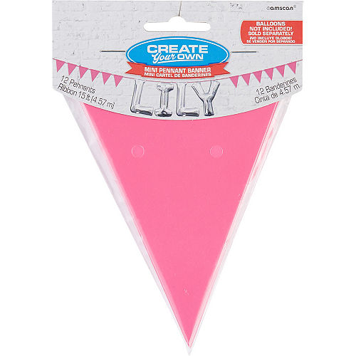 Mini Create Your Own Pink Pennant Banner Image #1