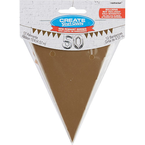 Mini Create Your Own Gold Pennant Banner Image #1
