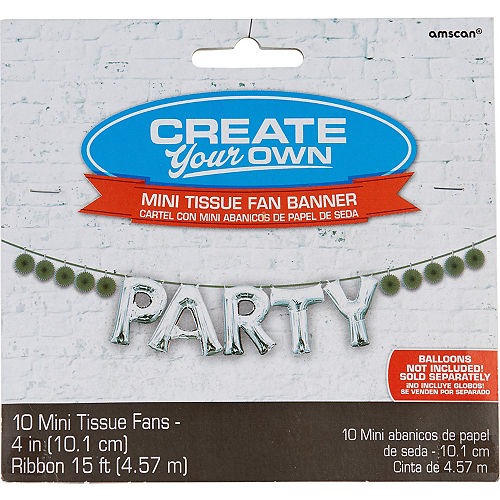 Mini Create Your Own Silver Paper Fan Banner, 4in Image #1