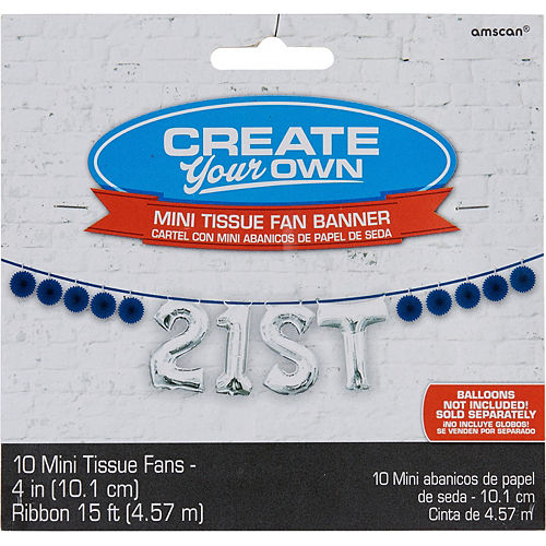 Mini Create Your Own Royal Blue Paper Fan Banner, 4in Image #1