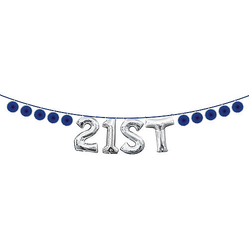 Mini Create Your Own Royal Blue Paper Fan Banner, 4in Image #2