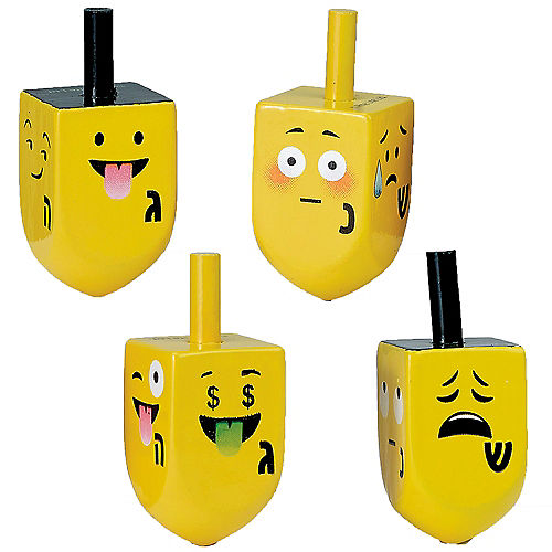 Yellow Smiley Dreidels 4ct Image #1