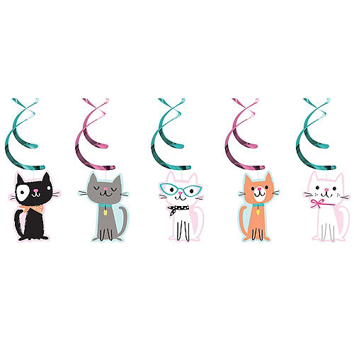 Purrfect Cat Swirl Decorations 5ct Image #1