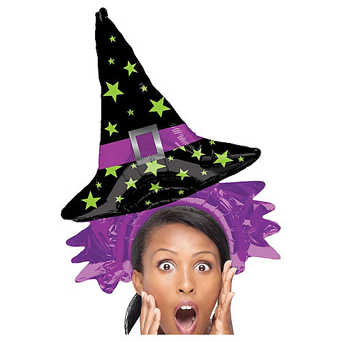 Air-Filled Witch Hat Balloon Hat, 14in Image #1